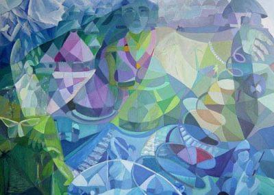 Esther_Cuellar_pintura_abstracta_05_Mito_de_la_Creacion_Cultura_Kogi