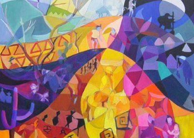 Esther_Cuellar_pintura_abstracta_10_Mito_de_la_Creacion_Cultura_Wayuu