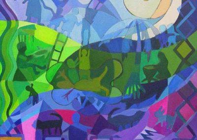 Esther_Cuellar_pintura_abstracta_11_Mito_de_la_Creacion_Cultura_Embera